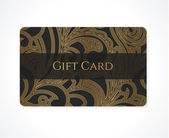 Gift card (discount card, business card, Gift coupon, calling card) with gold floral (scroll), swirl pattern (tracery). Black background design for calling card, voucher, invitation, ticket. Vector — 图库矢量图片