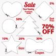 Set: Sale Coupon, labels (banner, tag) white template (vector design, layout) with blank frame, dotted line (dash line), red percent, scissors (cut off, cutting). Design save money, get discount — Stock Vector #33340439