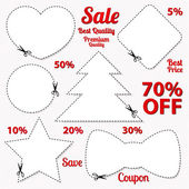 Set: Sale Coupon, labels (banner, tag) white template (vector design, layout) with blank frame, dotted line (dash line), red percent, scissors (cut off, cutting). Design save money, get discount — Stok Vektör