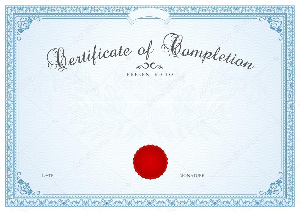 Certificate, Diploma of completion (design template, background) with ...