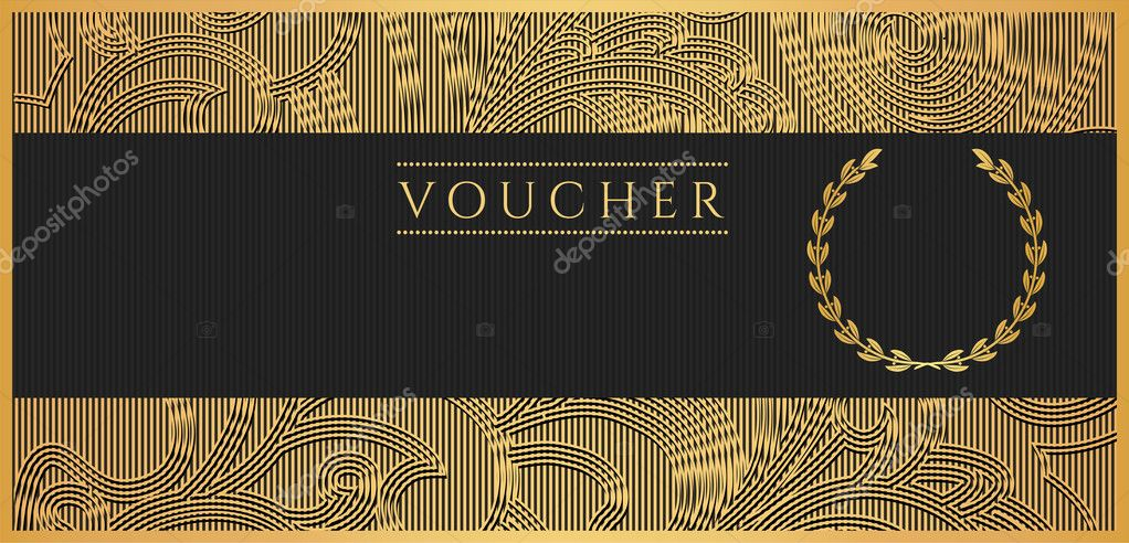 Voucher Gift Certificate Coupon Template Floral Scroll