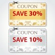 Sale Coupon, labels (banner, tag) gold, silver template (vector design, layout) with floral frame, pattern, dotted line (dash line), red percent, scissors (cut off, cutting). Save money, get discount — Stock Vector #33583085