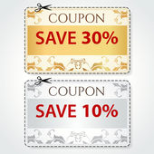 Sale Coupon, labels (banner, tag) gold, silver template (vector design, layout) with floral frame, pattern, dotted line (dash line), red percent, scissors (cut off, cutting). Save money, get discount — Stok Vektör