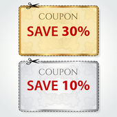 Sale Coupon, voucher, tag. Gold, silver template (vector design) with Guilloche pattern, frame, dotted line (dash line), red percent, scissors (cut off, cutting). Save money, get discount — Διανυσματικό Αρχείο