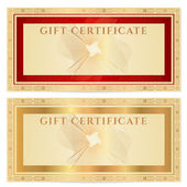 Voucher, Gift certificate, Coupon, ticket template. Guilloche pattern (watermark) with gold floral border, red frame. Vector background for banknote, money design, currency, bank note, check (cheque) — Stock Vector