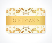 Gift card, Gift coupon, (discount card, business card) with gold floral (scroll, swirl) gold swirl pattern (tracery). Holiday background design for invitation, ticket. Vector — Stock Vector