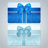 Blue, turquoise gift card (discount card, business card) with floral (scroll, swirl) pattern (tracery), Bow, ribbon. Background design for gift coupon, voucher, invitation, ticket etc. Vector — Stock Vector