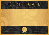 Certificate, Diploma of completion (black design template, dark background) with floral, filigree pattern, scroll border, frame. Gold Certificate of Achievement, coupon, award, winner certificate — Stockvector