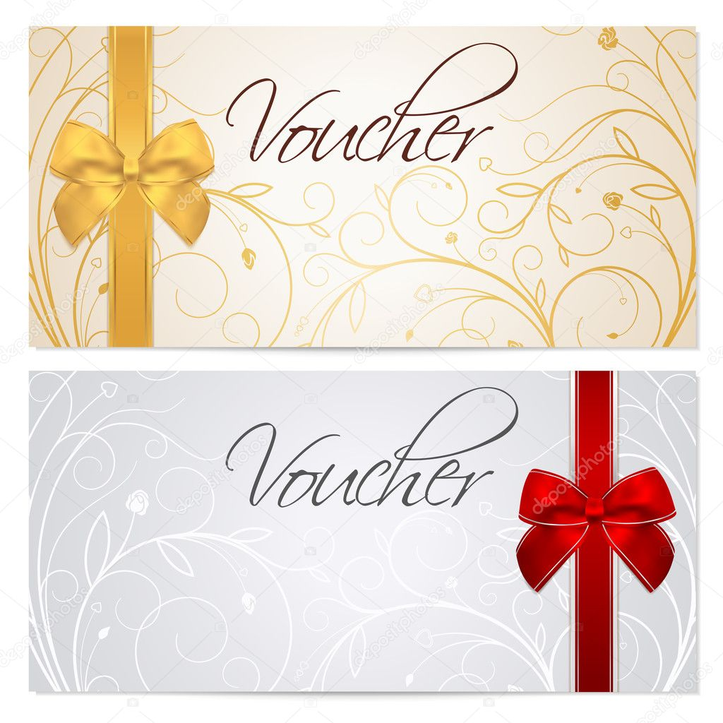 voucher gift certificate coupon template floral scroll voucher gift certificate coupon template floral scroll pattern red and gold bow