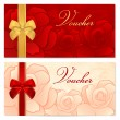 Voucher, Gift certificate, Coupon template with floral rose pattern, red and gold bow. Background for invitation, money design, currency, note, check (cheque), ticket, reward. Vector — Stock Vector