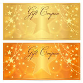 Gift certificate, Voucher, Coupon template with stars pattern. Holiday gold and orange background for money design, currency, note, check (cheque), ticket, reward. Vector — Stock Vector