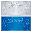 Gift certificate, Voucher, Coupon template with stars pattern. Holiday silver and blue background for money design, currency, note, check (cheque), ticket, reward. Vector — Stock Vector