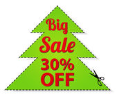 Sale Coupon, vector label (banner, tag) red template (design, layout) with Christmas tree shaped frame, dotted line (dash line), percent, scissors (cut off, cutting). Save money, get discount — Stock Vector