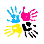 CMYK color. Handprint — Stock Vector