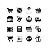16 iconos set. pictogramas de compras — Vector de stock