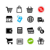 16 iconos set. pictogramas de compras — Vector de stock