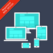 Responsive web design on different devices — Stock Vector