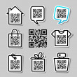 QR-Code. Set of 8 pictograms — Stock Vector