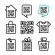 QR-Code. Set of 8 pictograms — Stock Vector #26076201
