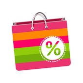 Discount, paper bag for shopping — Stock Vector