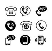 9 icons set - communication, call, phone — Stock Vector