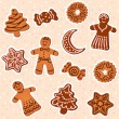 Stock Vector: Cristmas gingerbread cookies collection