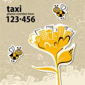Servicio de taxi con su número de teléfono — Vector de stock