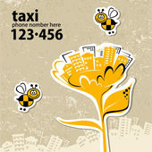Taxi service with your phone number — Vector de stock