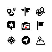 Set of 9 web icons. Location, navigation, map — Stock Vector