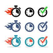 Webové ikony nastavit. čas, stopky, hodiny — Stock vektor