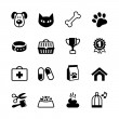 Pets icons set. Vector veterinary emblems and signs — Stock Vector