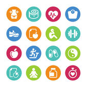 Set - 16 iconos salud y fitness — Vector de stock