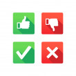 Yes, No, Thumbs up and down icons — Stock Vector #29953961