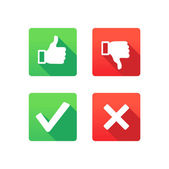 Yes, No, Thumbs up and down icons — Stock Vector