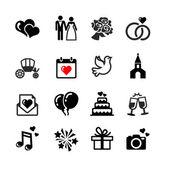 16 web icons set. Wedding, bride and groom, love, celebration. — Stock Vector