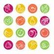 Web icons set. Fruits and berries. Health food — Stock Vector