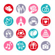 16 web icons set. Wedding, bride and groom, love, celebration. — Stock Vector
