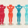 Ladies silhouettes with different body mass — Vector de stock #30390979