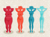 Ladies silhouettes with different body mass — Stock Vector