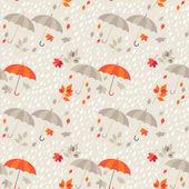 Seamless background - autumn rain, umbrellas and leaf fall — Stock Vector