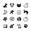 Set of 16 web icons. Pet shop, types of pets. — Stock Vector