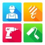 Set 4 Symbole - Bau, Renovierung, Dekoration, tools — Stockvektor  #30858819