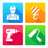 Set de 4 icônes - construction, rénovation, décoration, outils — Vecteur