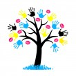 CMYK color for printing. Tree with hang print and lips kiss — Stok Vektör