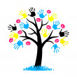 CMYK color for printing. Tree with hang print and lips kiss — Image vectorielle
