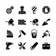 16 web icons set - building, construction, repair and decoration — Stock Vector