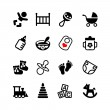 Set of 16 web icons. Baby, suckling, child — Stock Vector