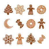 Web icon set -12 Christmas gingerbread cookies — Stock Vector