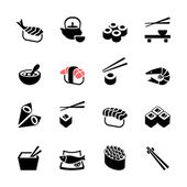 Japanese food Sushi collection. Web icon set — Stock Vector