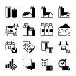 Stock Vector: Icon Set - Dairy production, range, sales, profits